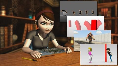 MEGA PACK 5 en 1 - Animación de personajes 3D de cero a PRO