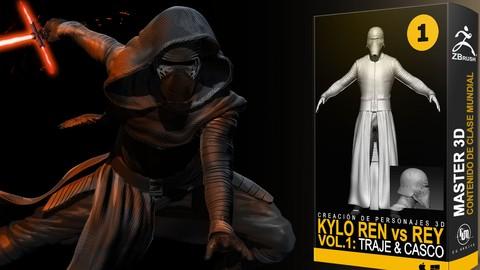 Personajes 3D Zbrush Kylo Ren Vol 1: Modelado indumentaria