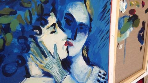 Pinta 5 cuadros en 5 días con pintura acrílica.